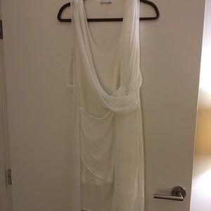 Zara white drape light dress